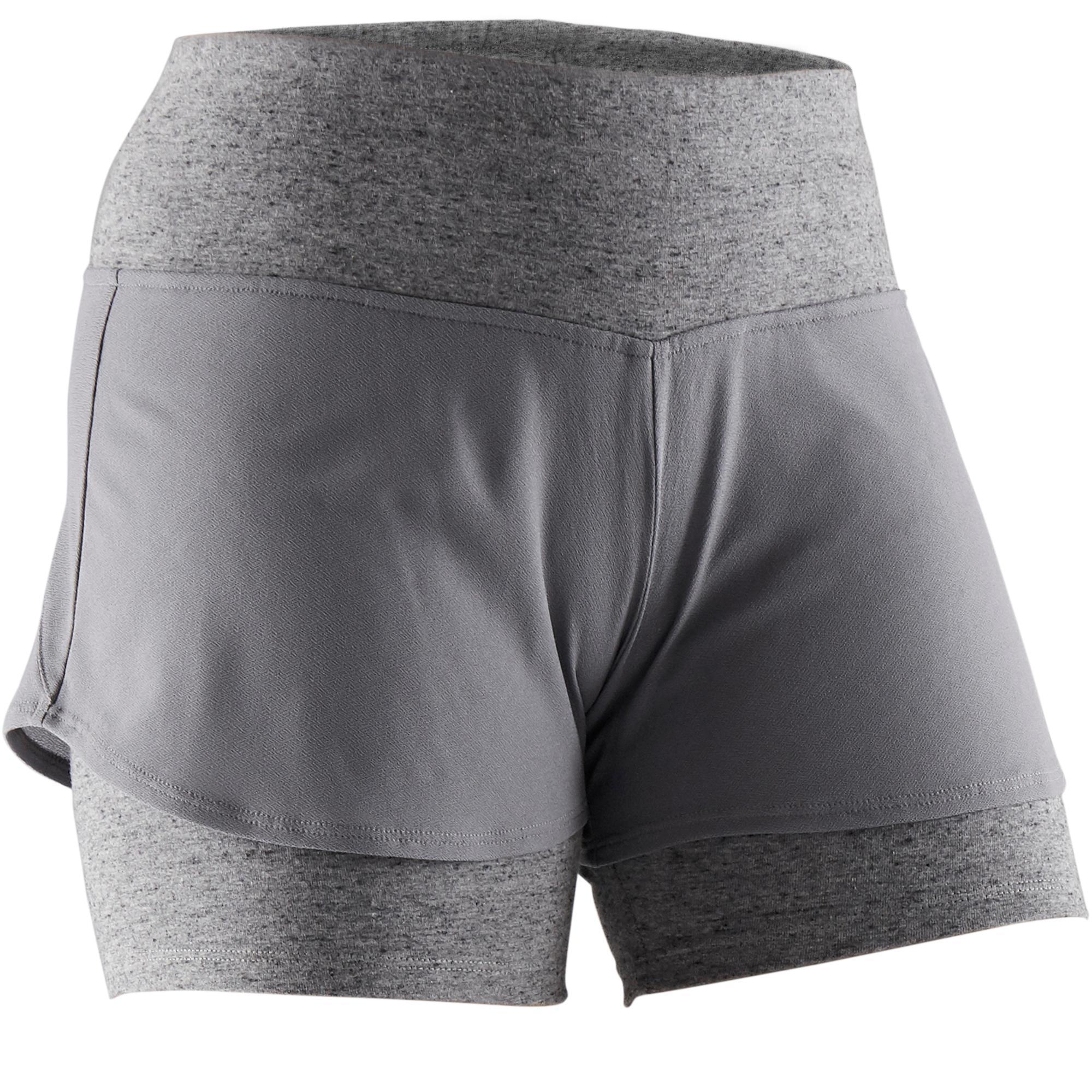 Domyos Short 520 Pilates Gym douce femme gris - Domyos