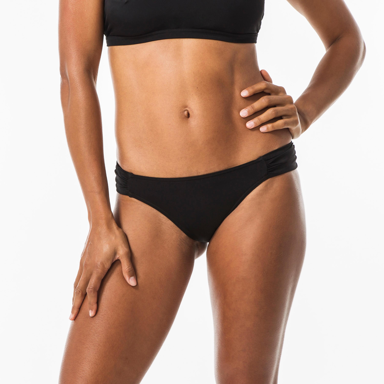 Olaian Bas de maillot de bain de surf femme plissée côté NIKI NOIR - Olaian