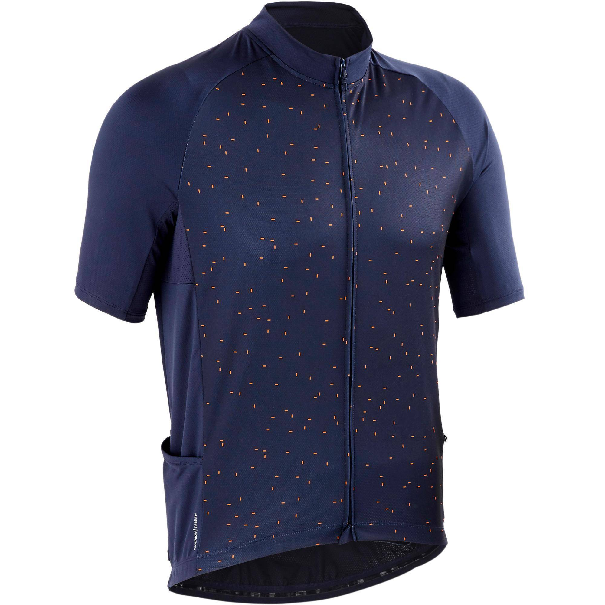 Triban MAILLOT MANCHES COURTES VELO ROUTE TPS CHAUD TRIBAN RC100 NAVY DOT - Triban