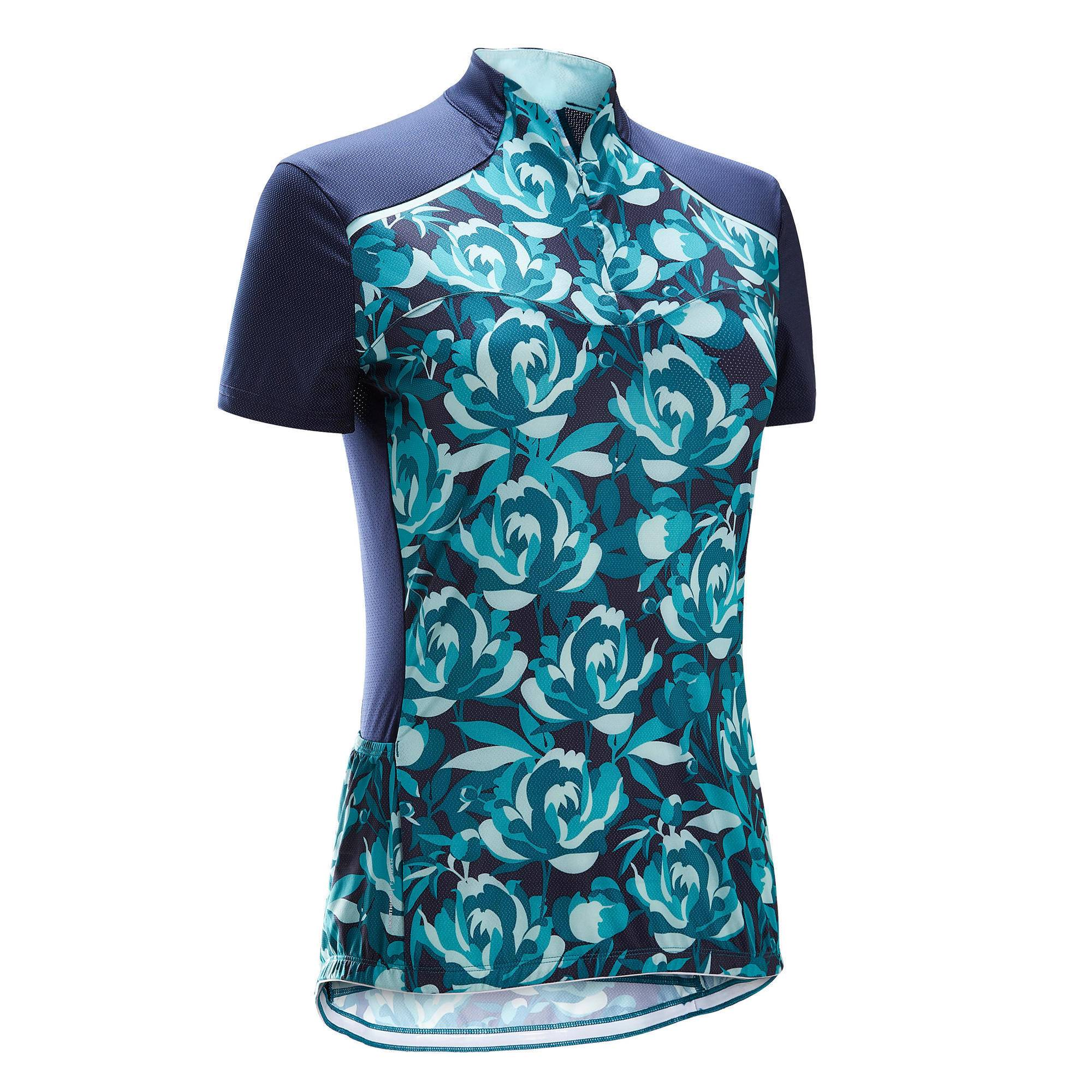 Triban MAILLOT MANCHES COURTES VELO ROUTE FEMME TRIBAN 500 FLORAL VERT - Triban