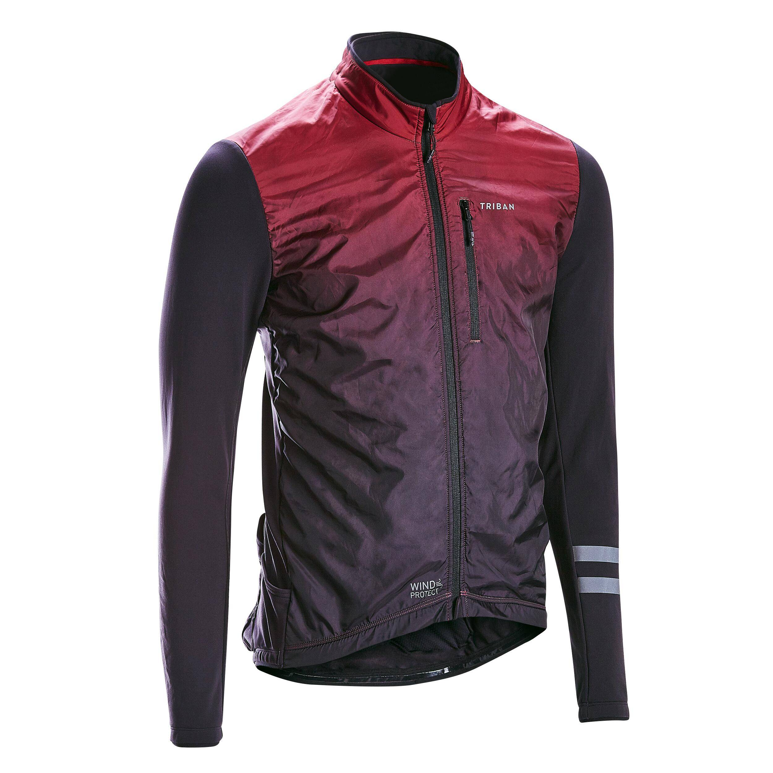 Triban MAILLOT VELO ROUTE MANCHES LONGUES HOMME RC500 SHIELD BORDEAUX - Triban