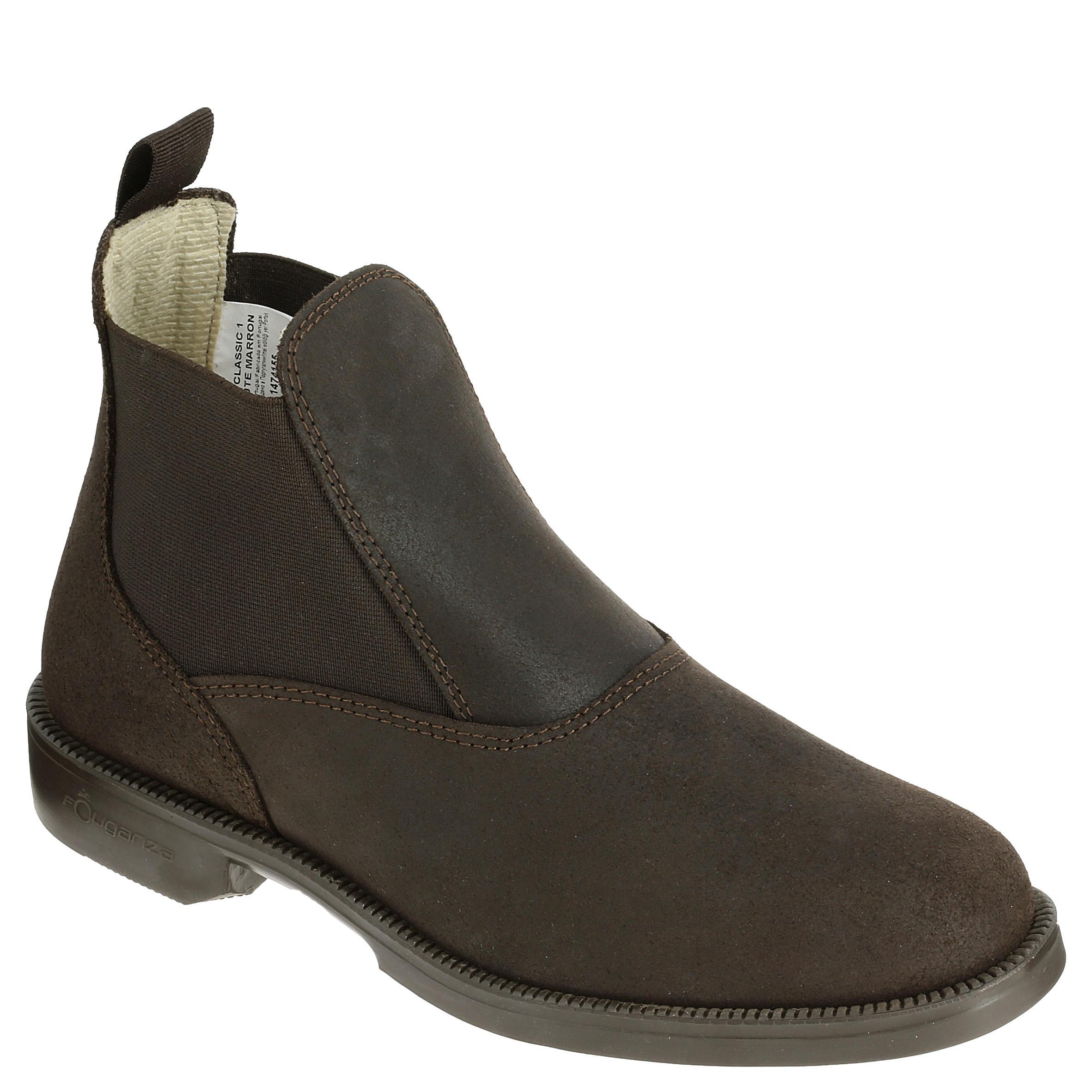 Fouganza Boots équitation adulte (taille 45 au 48) CLASSIC cuir marron - Fouganza