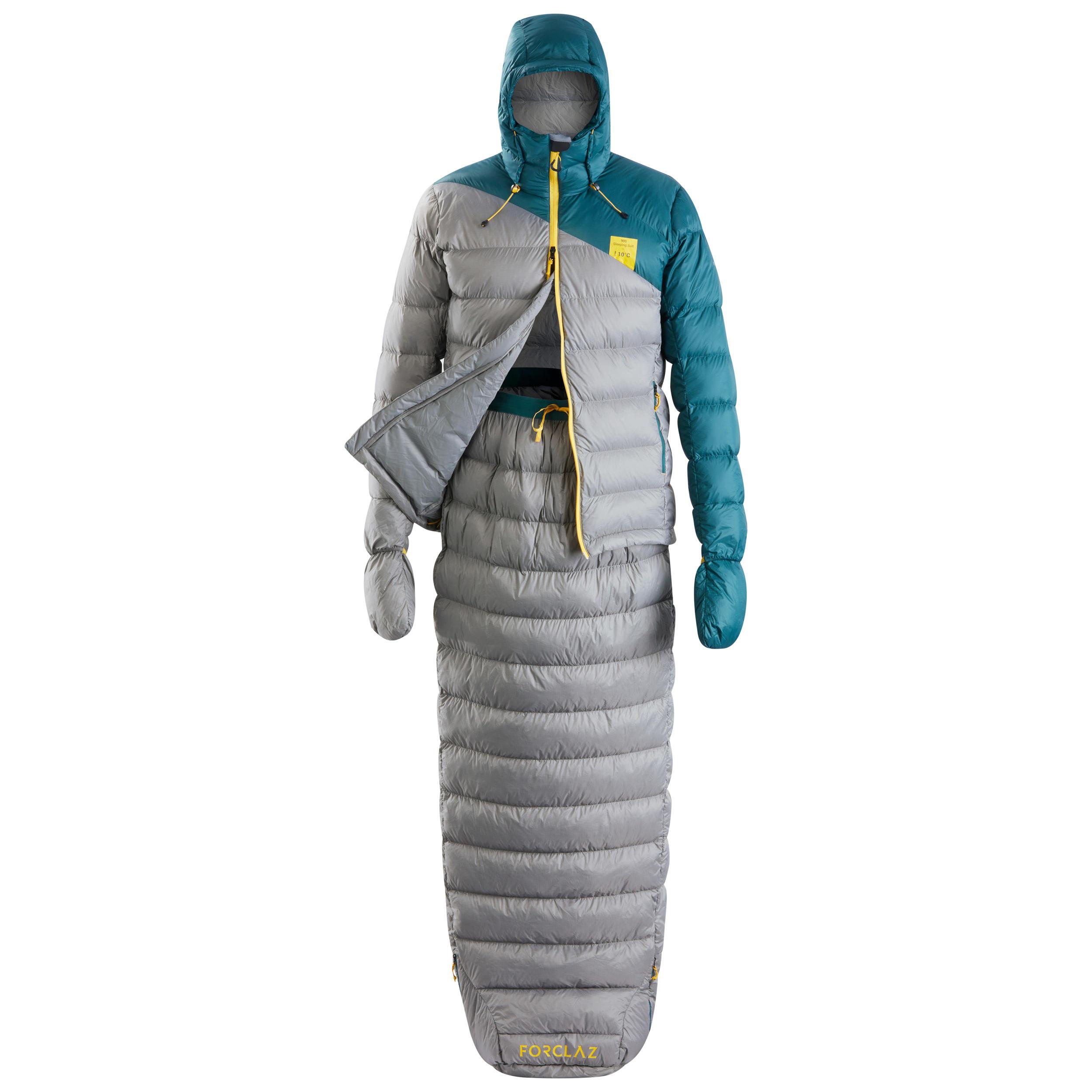 Forclaz Sac de couchage veste Sleeping Suit - TREK 900 10° plume bleu gris - Forclaz
