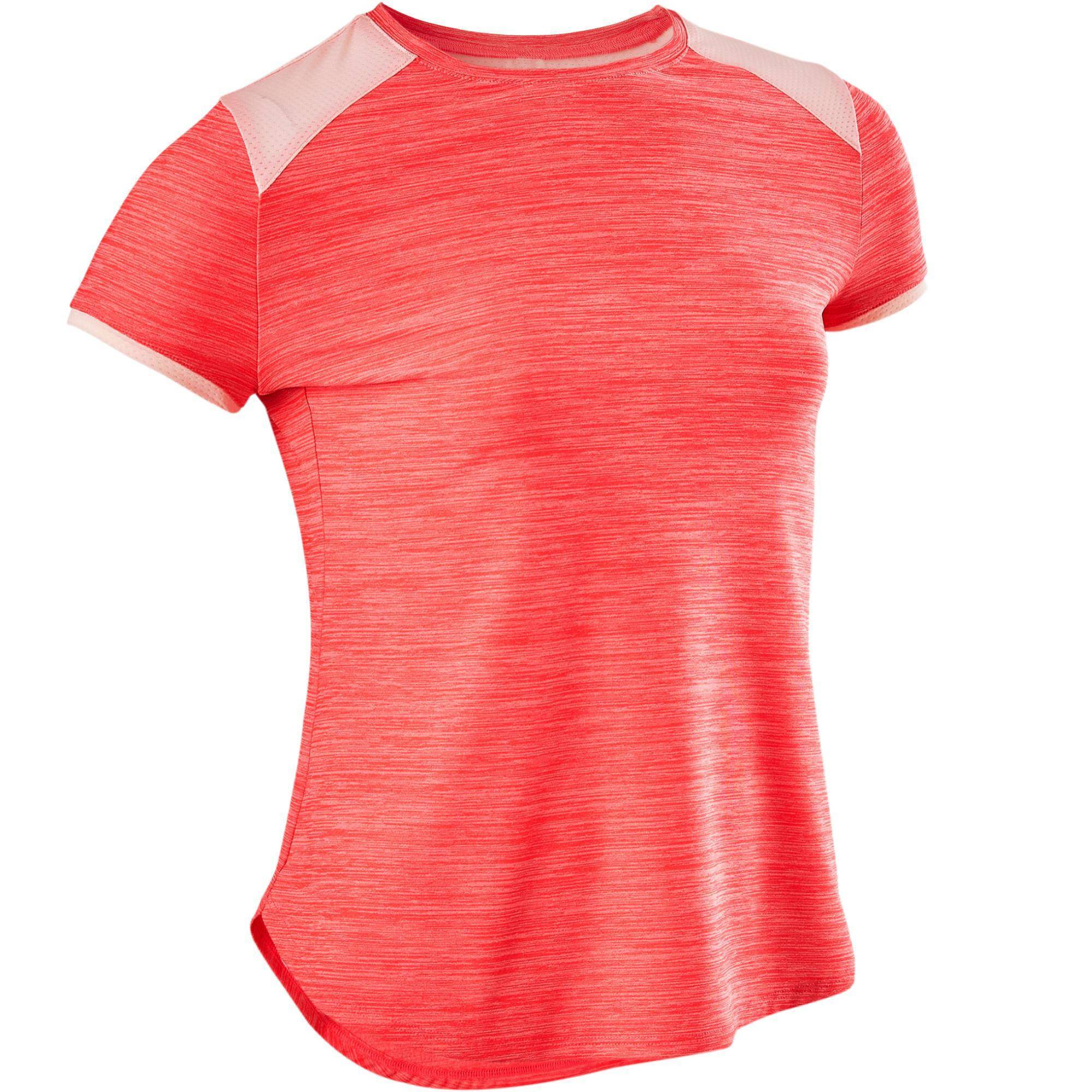 Domyos T-Shirt synthétique respirant manches courtes S500 fille GYM ENFANT rose - Domyos