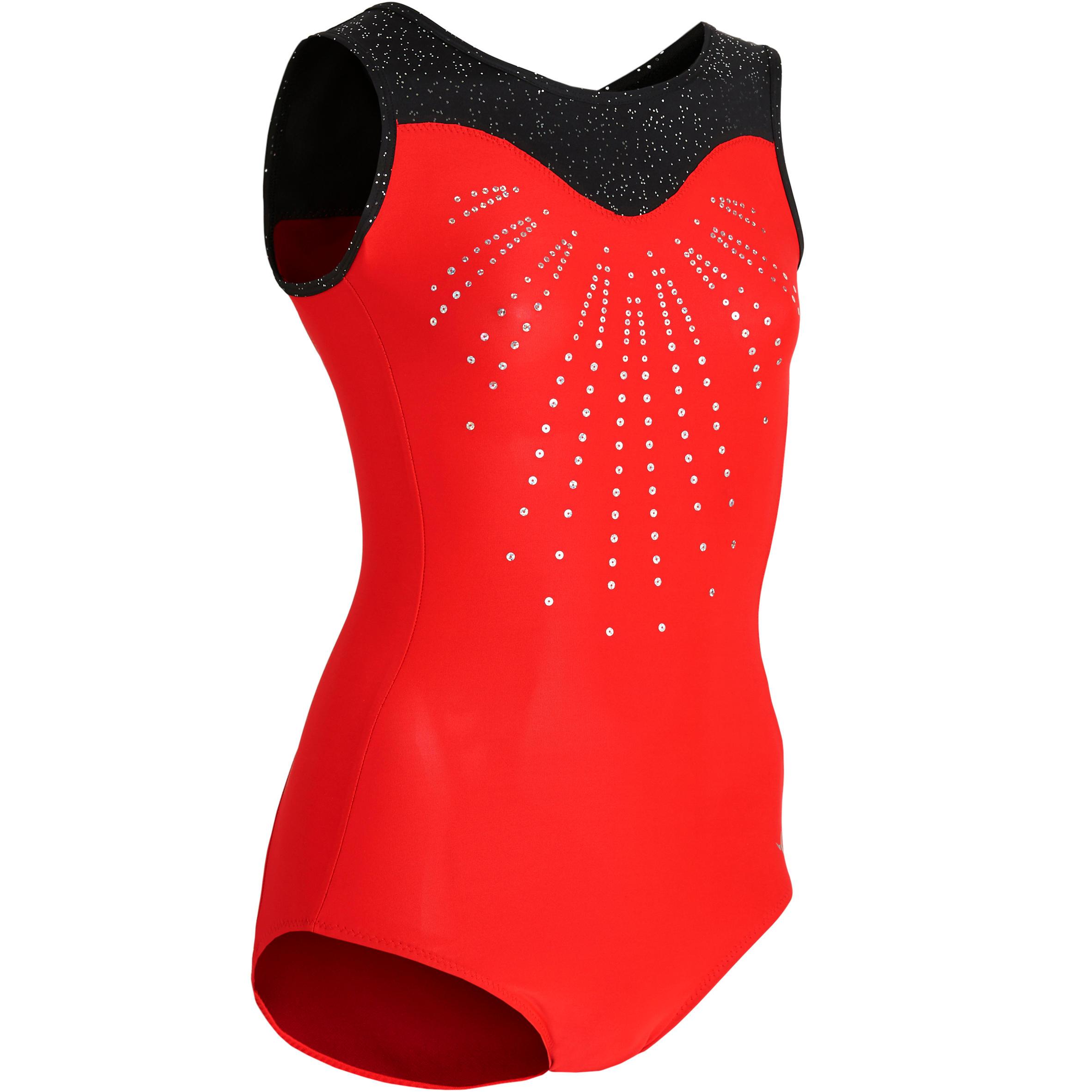 Domyos Justaucorps sans manche rouge et noir 540 SM Gymnastique Artistique Féminine - Domyos