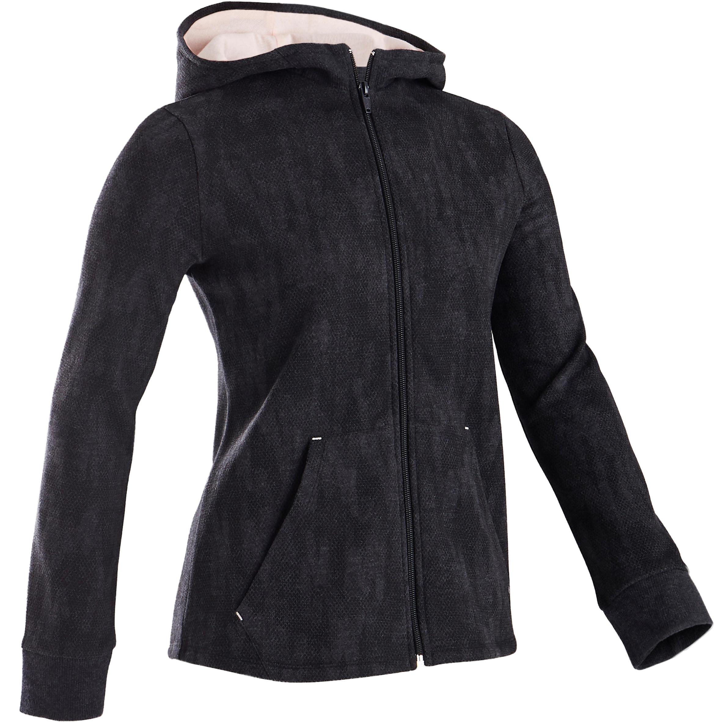 Domyos Veste capuche chaude 100 fille GYM ENFANT gris imprimé noir, capuche rose - Domyos
