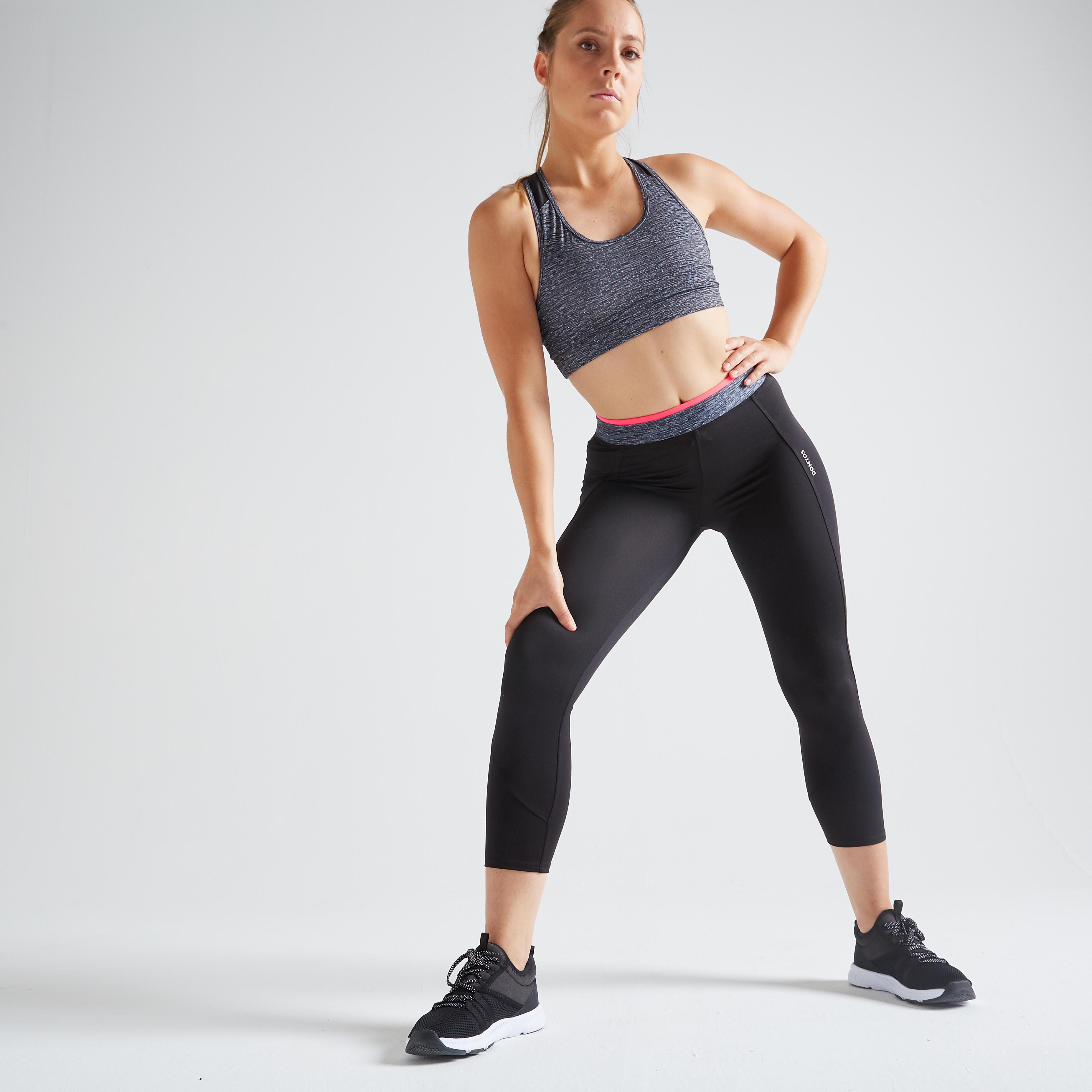 Domyos Legging 7/8 fitness cardio training femme noir 100 - Domyos