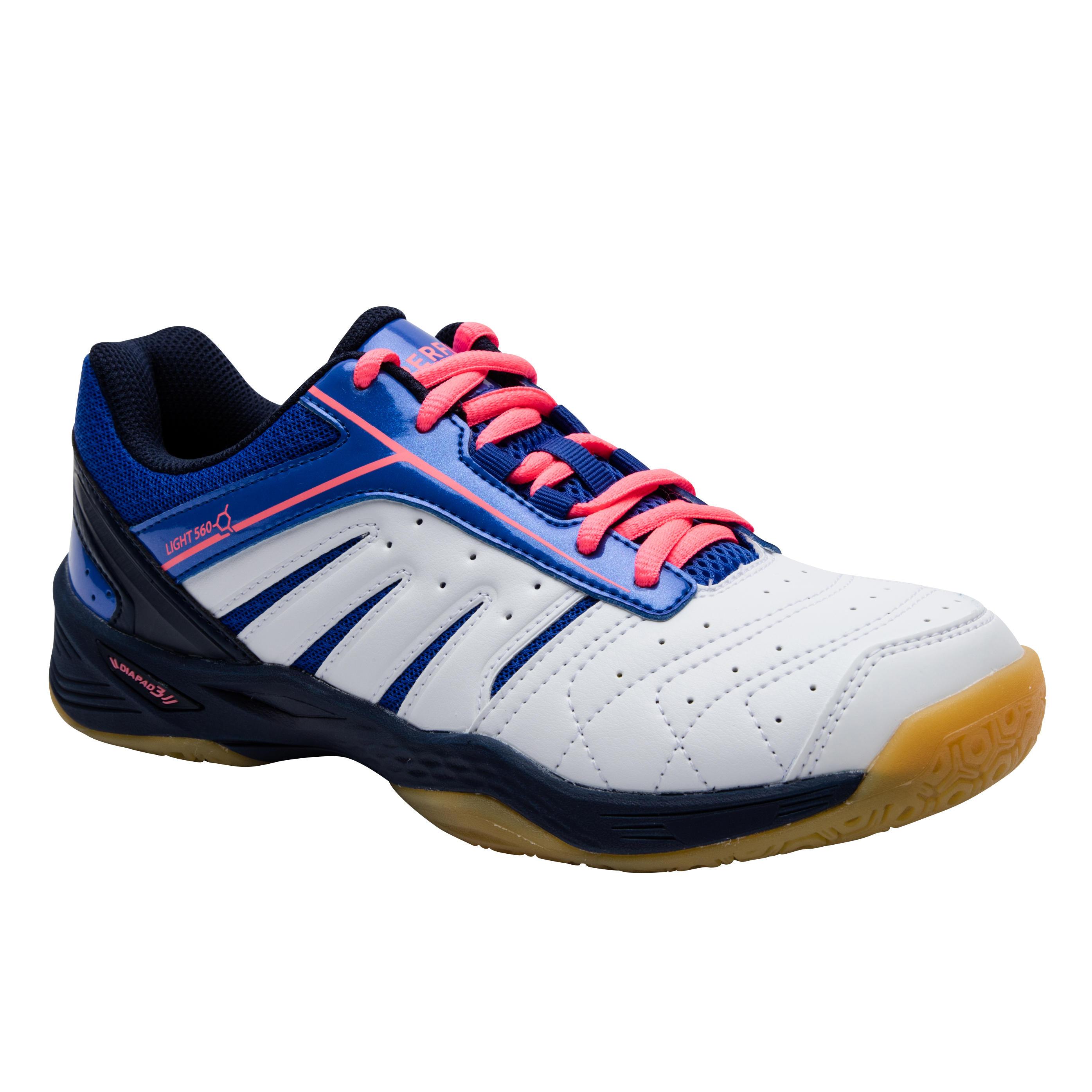 Perfly Chaussures De Badminton Femme BS 560 Lite - Blanc/Bleu - Perfly