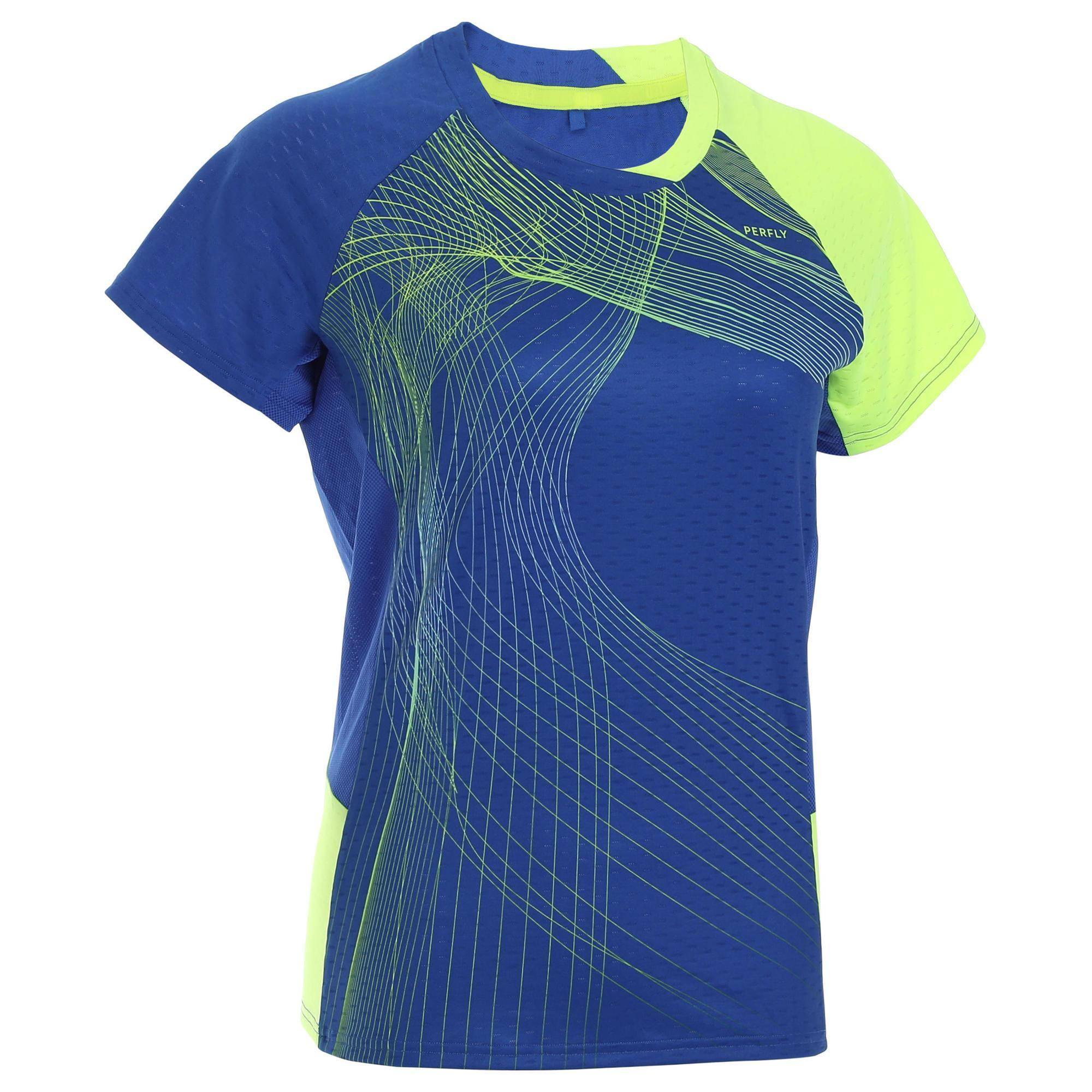 Perfly T-Shirt de badminton Femme 560 - Bleu/Jaune - Perfly