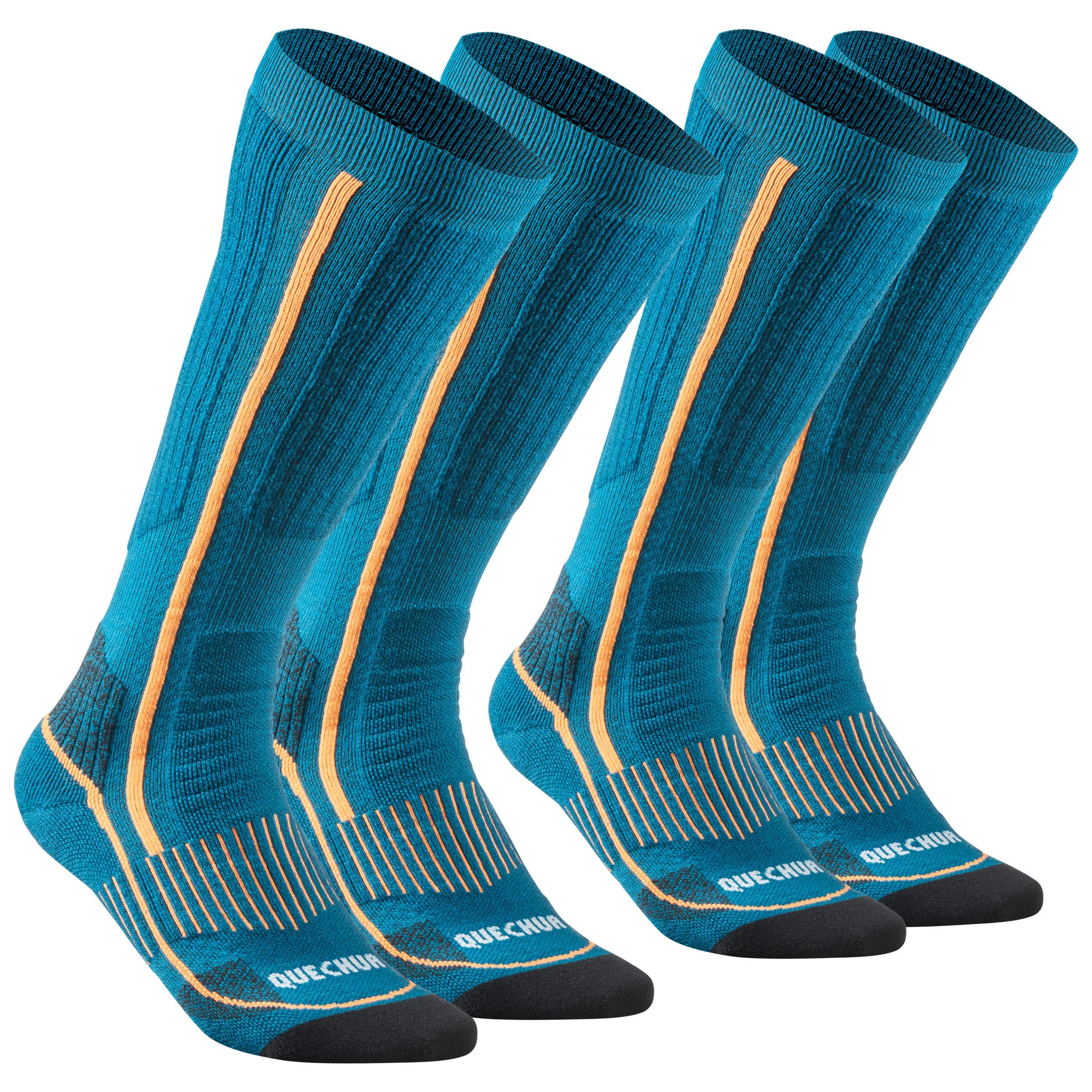 Quechua Chaussettes chaudes de randonnée adulte SH520 x-warm high bleues X 2 paires - Quechua