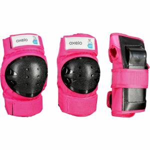 Oxelo Set 3 protections roller skate trottinette enfant BASIC rose - Oxelo