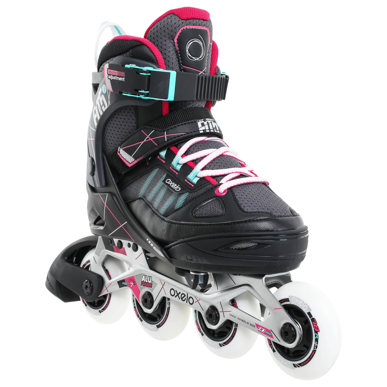 Oxelo Roller fitness enfant FIT 5 Jr gris rose - Oxelo