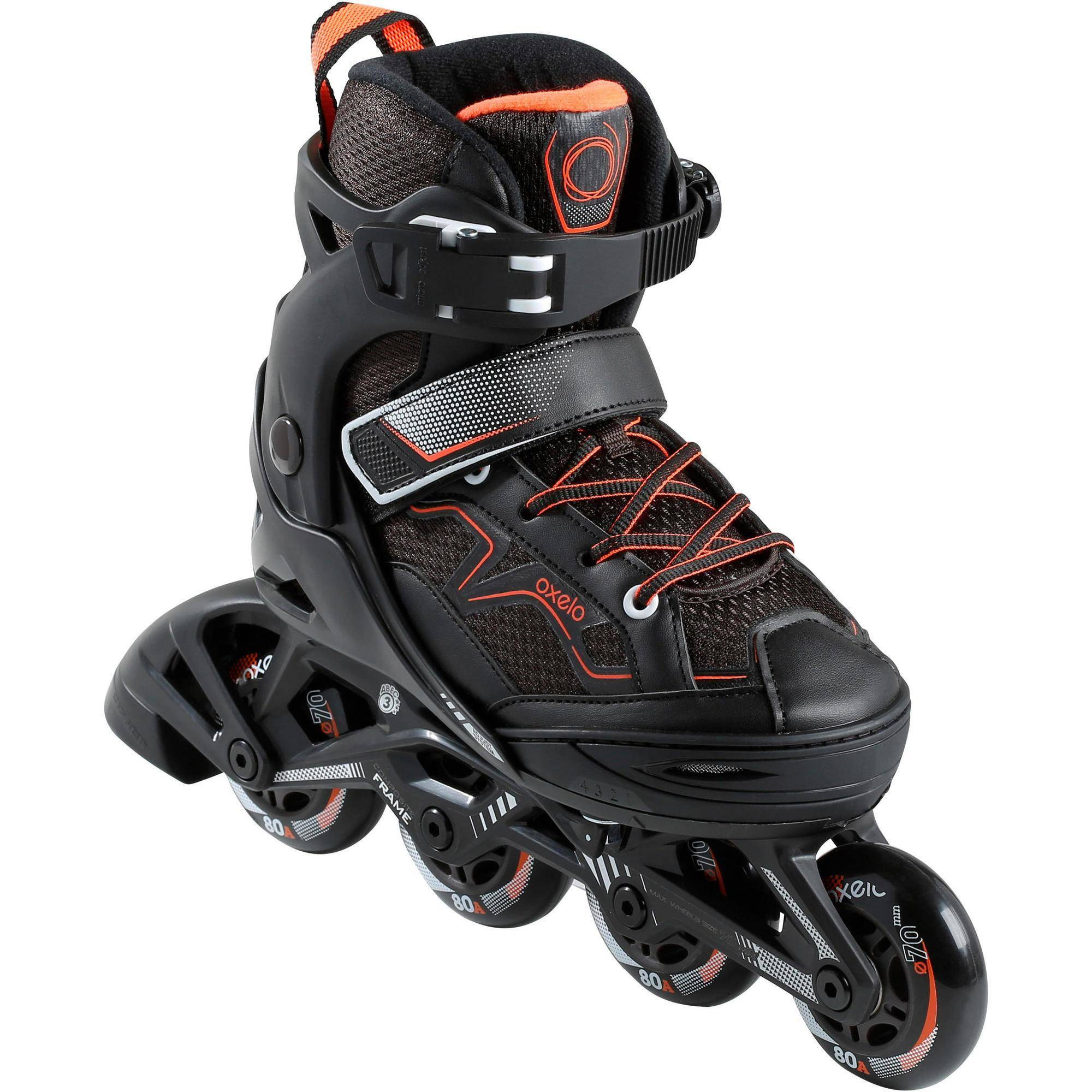 Oxelo Roller fitness enfant FIT3 JR noir orange - Oxelo