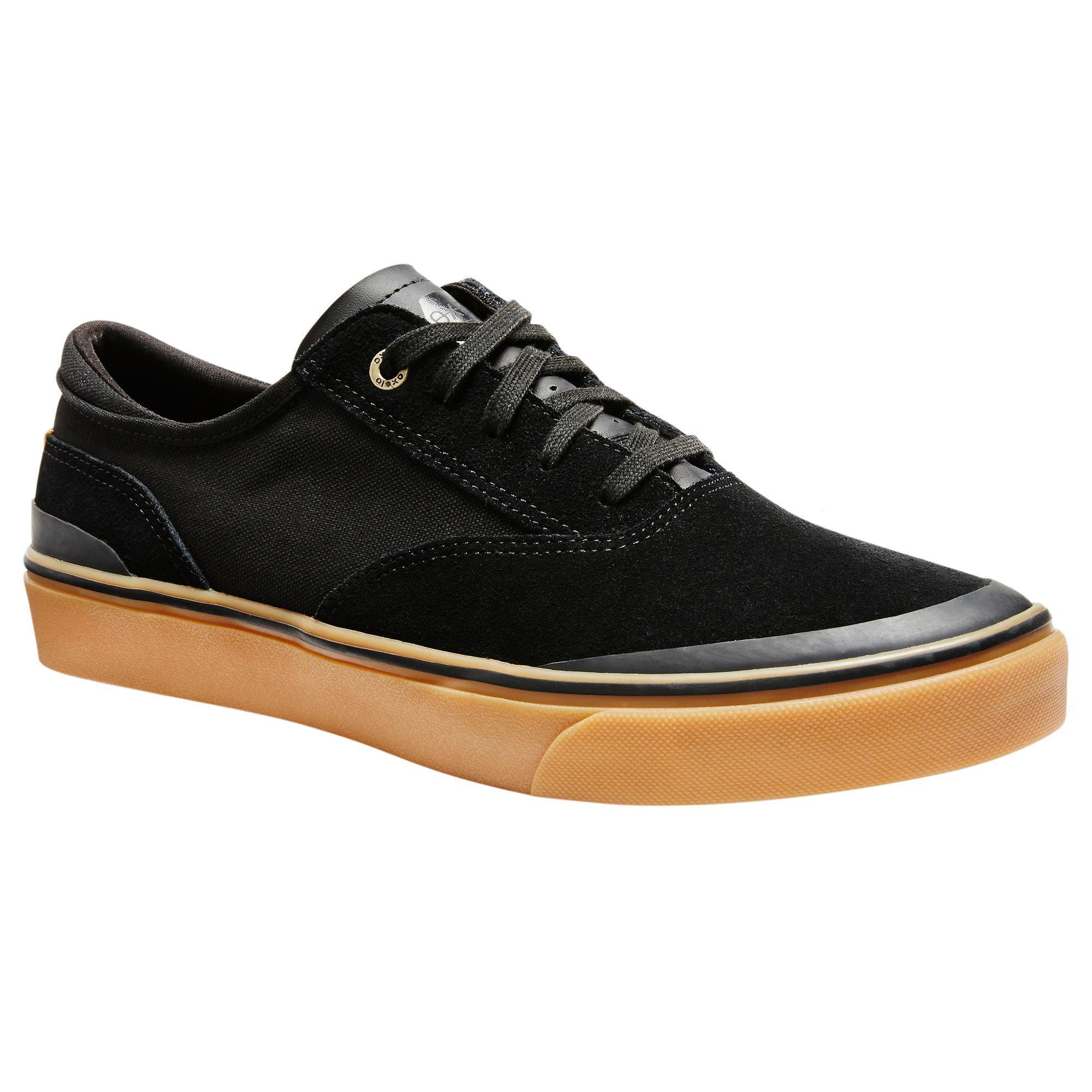 Oxelo Chaussures basses de skateboard adulte VULCA 500 noire, semelle gomme - Oxelo