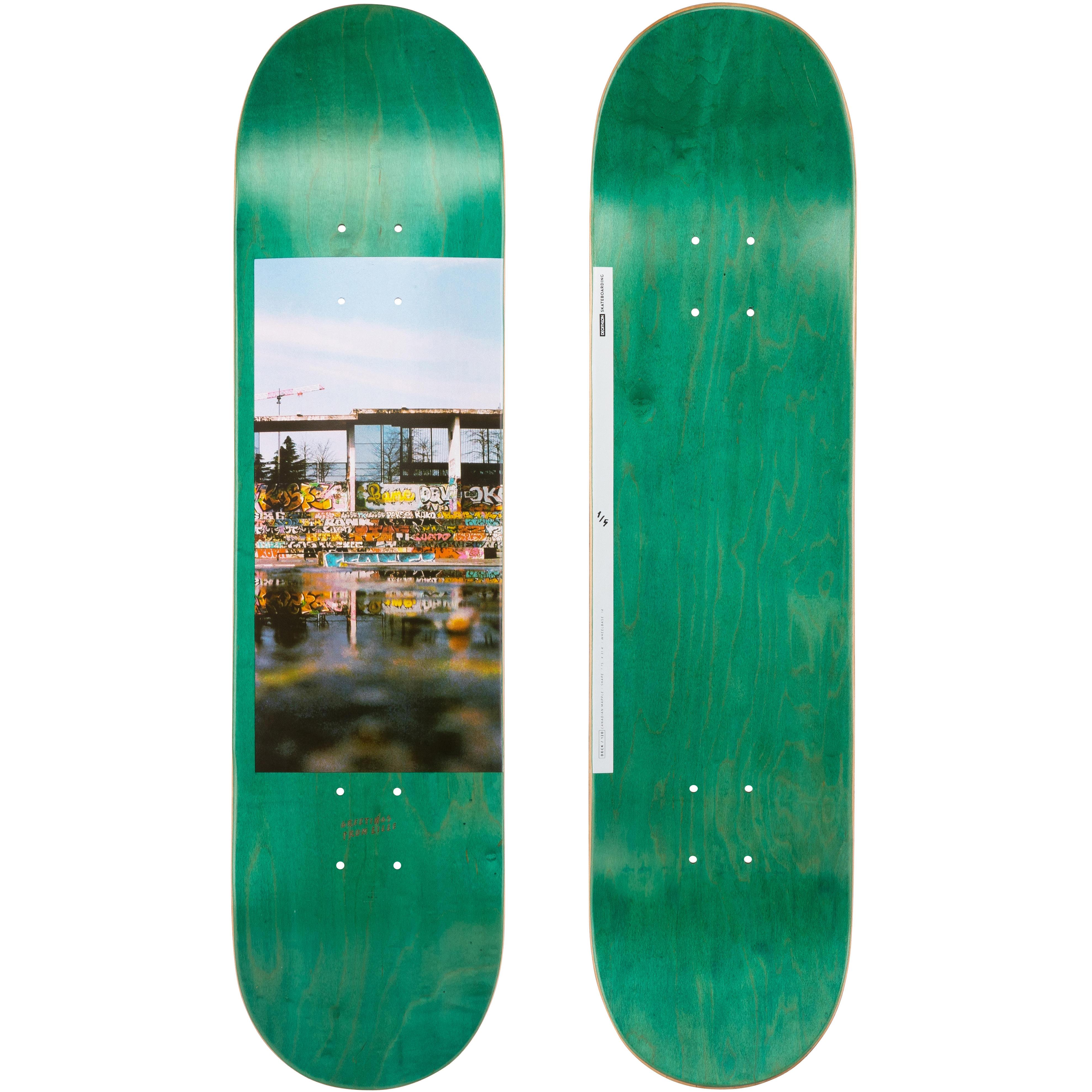 Oxelo Planche de skate DECK 120 taille 7.75 couleur verte. - Oxelo