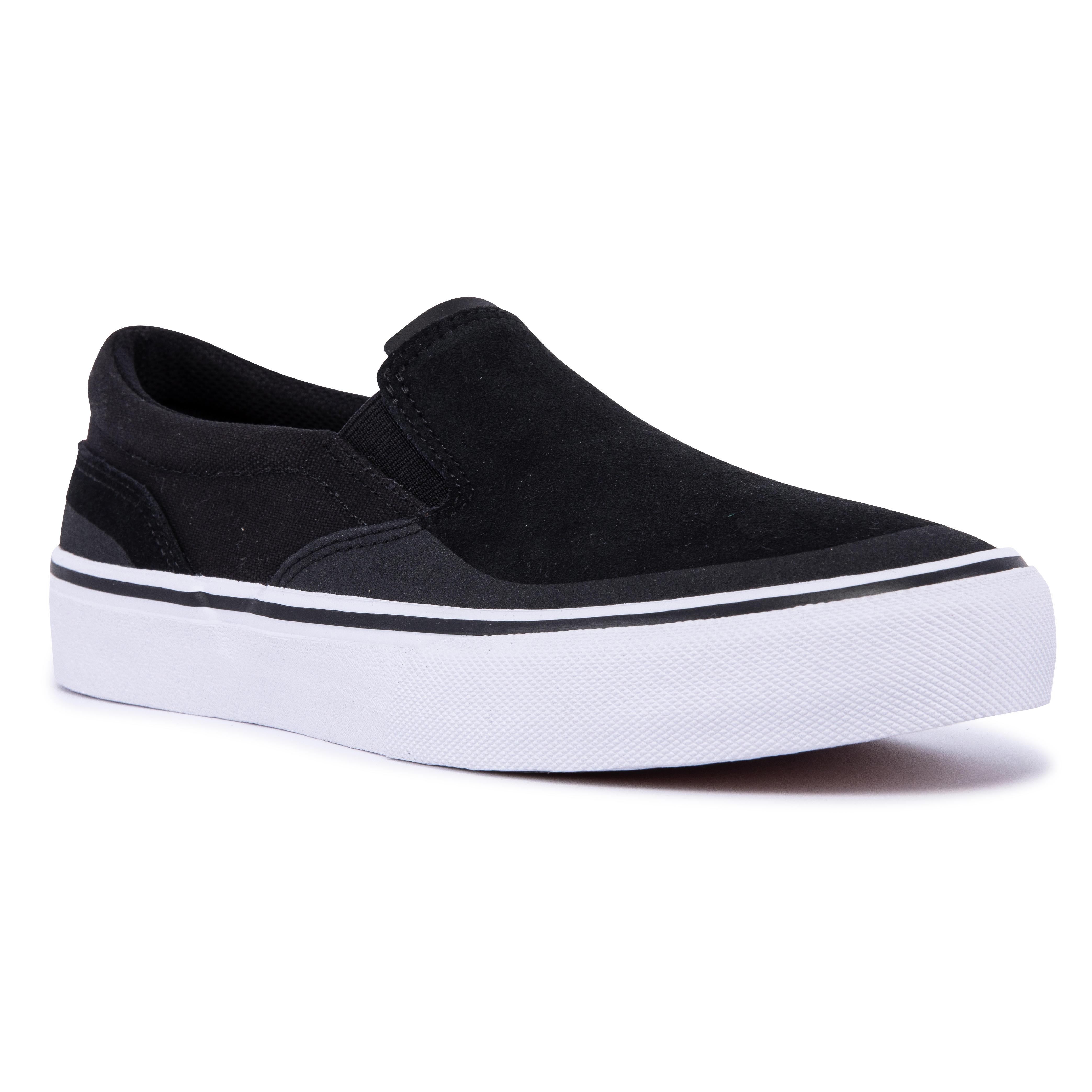 Oxelo Chaussures basses Slip-On de skateboard adulte VULCA 500 noire / blanc - Oxelo