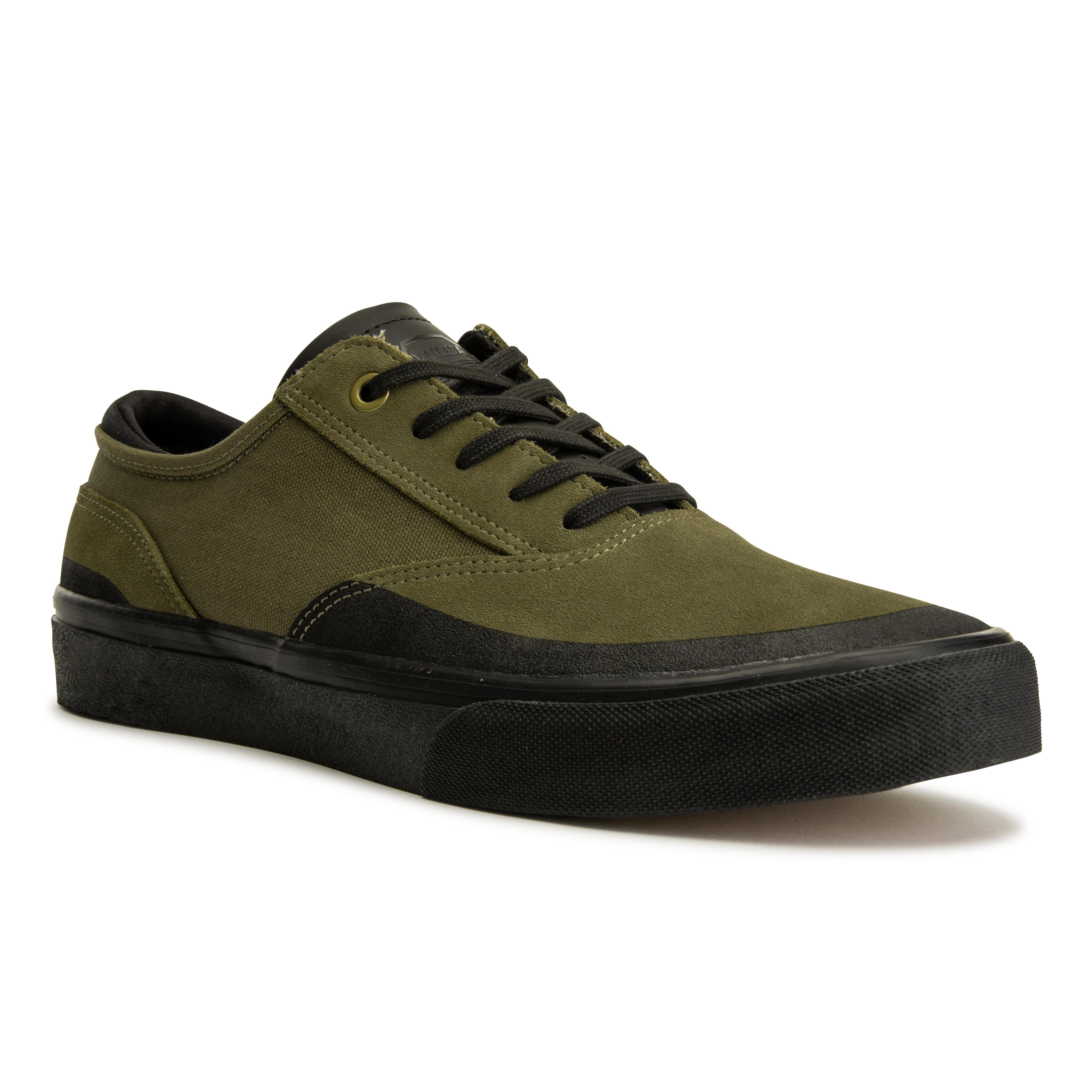 Oxelo Chaussures basses de skateboard adulte VULCA 500 Kaki, semelle noire - Oxelo