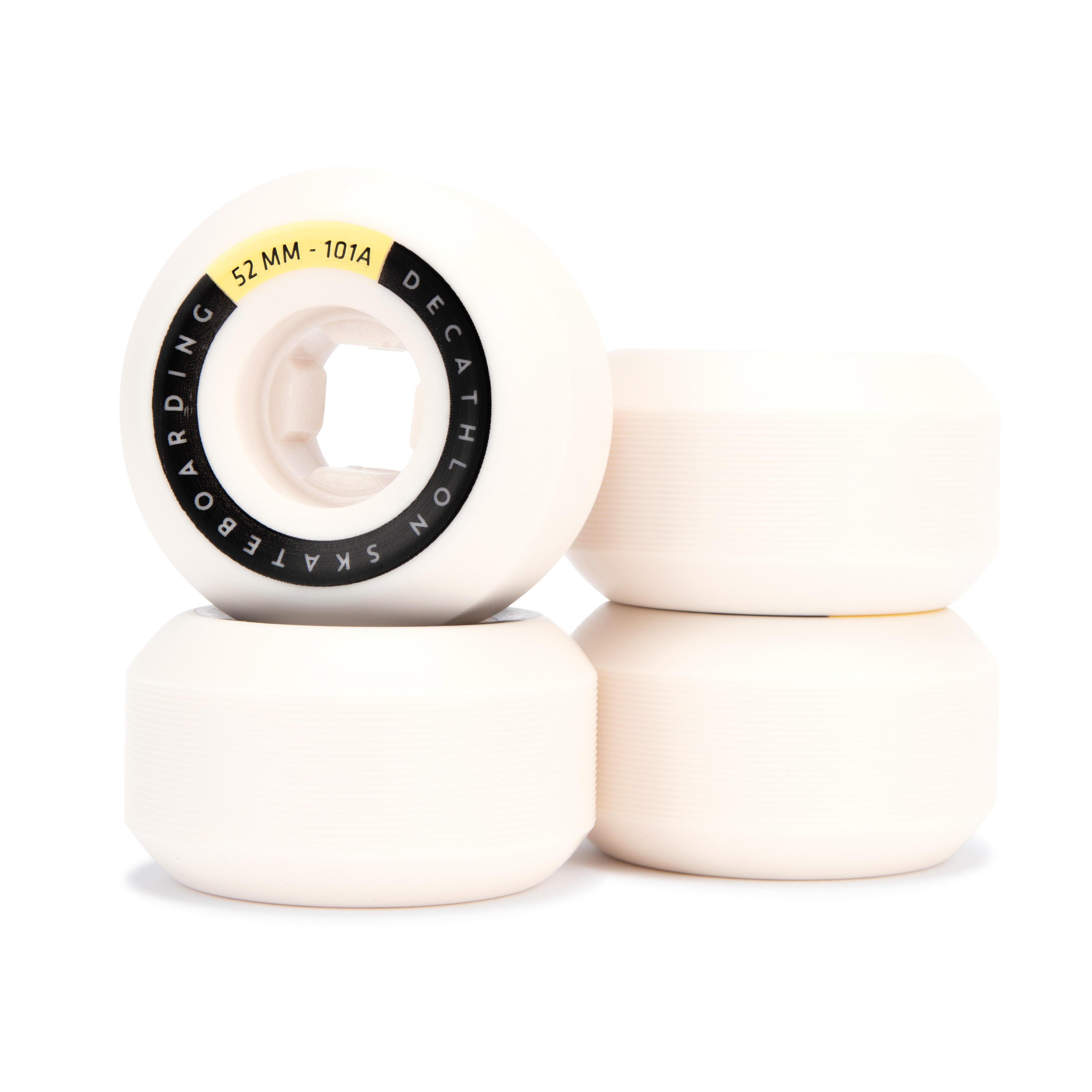 Oxelo JEU DE 4 ROUES DE SKATEBOARD COULEUR IVOIRE FORME CONIQUE TAILLE 52mm, 101A. - Oxelo