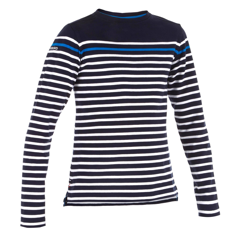 Tribord T-Shirt Manches longues voile SAILING 100 Garçon Rayé Bleu - Tribord