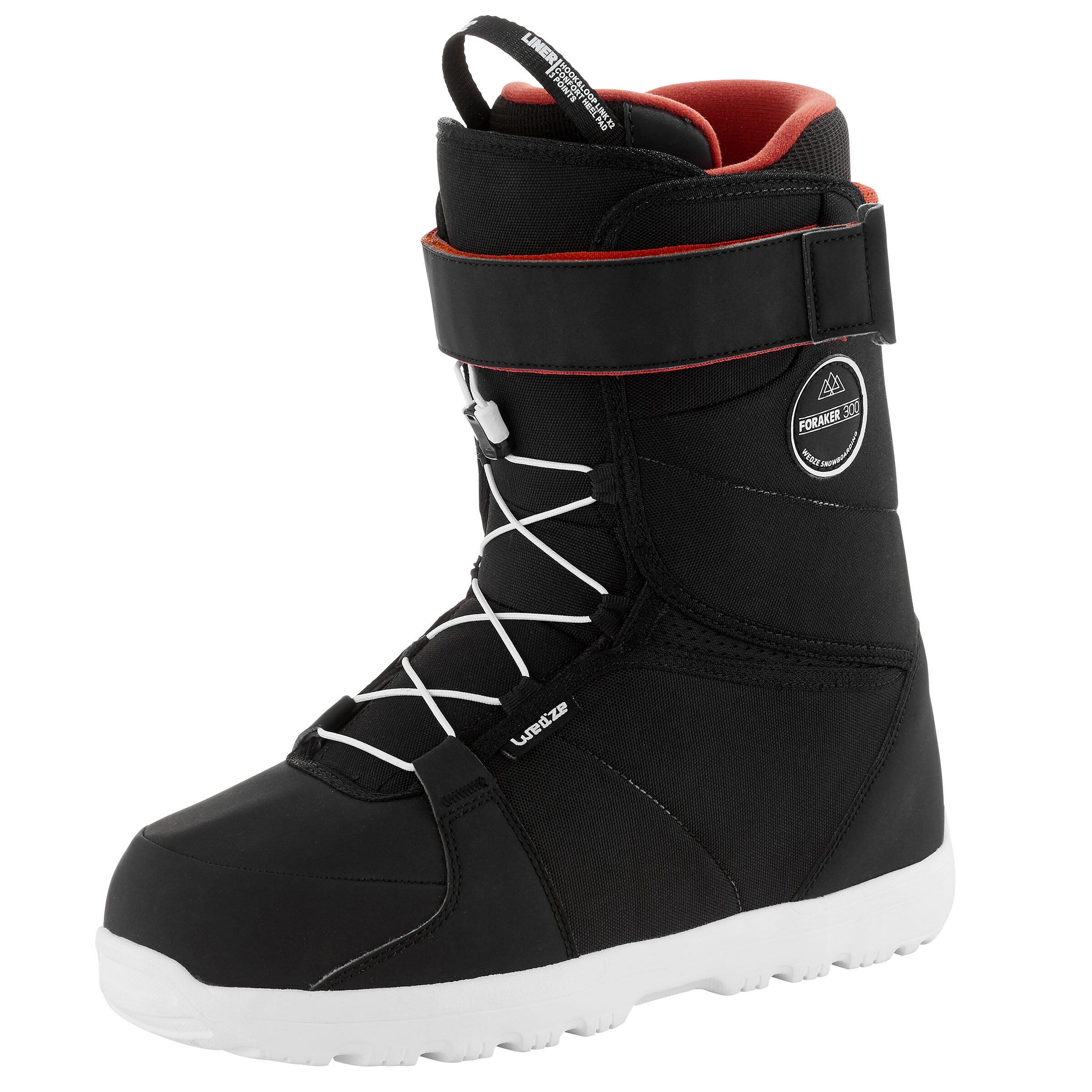 Wedze Chaussures de snowboard homme polyvalente FORAKER 300, Noir - Wedze