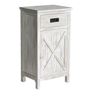 Maisonetstyles Meuble d'entrée 1 porte et 1 tiroir 43x33x79,5 cm en bois blanchi