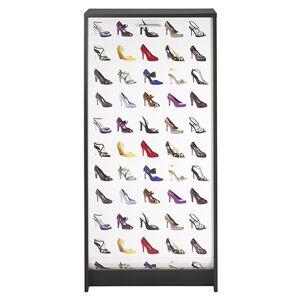 Maisonetstyles Meuble à chaussures 120 cm noir et décor escarpins - ADELINE