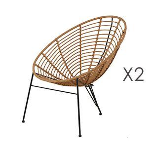 Maisonetstyles Lot de 2 fauteuils 72x81x88 cm imitation osier naturel