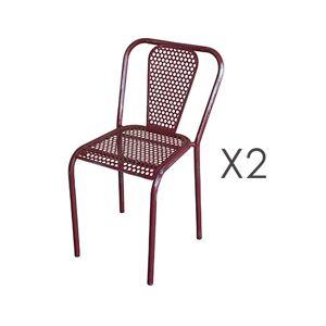 Maisonetstyles Lot de 2 chaises 41,5x47x77 cm en métal rouge