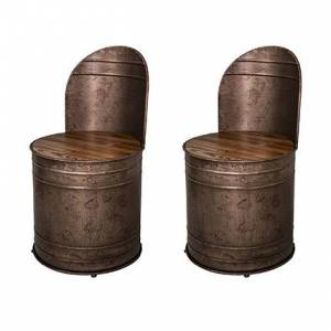 Maisonetstyles Lot de 2 fauteuils forme de bidon en sapin et métal