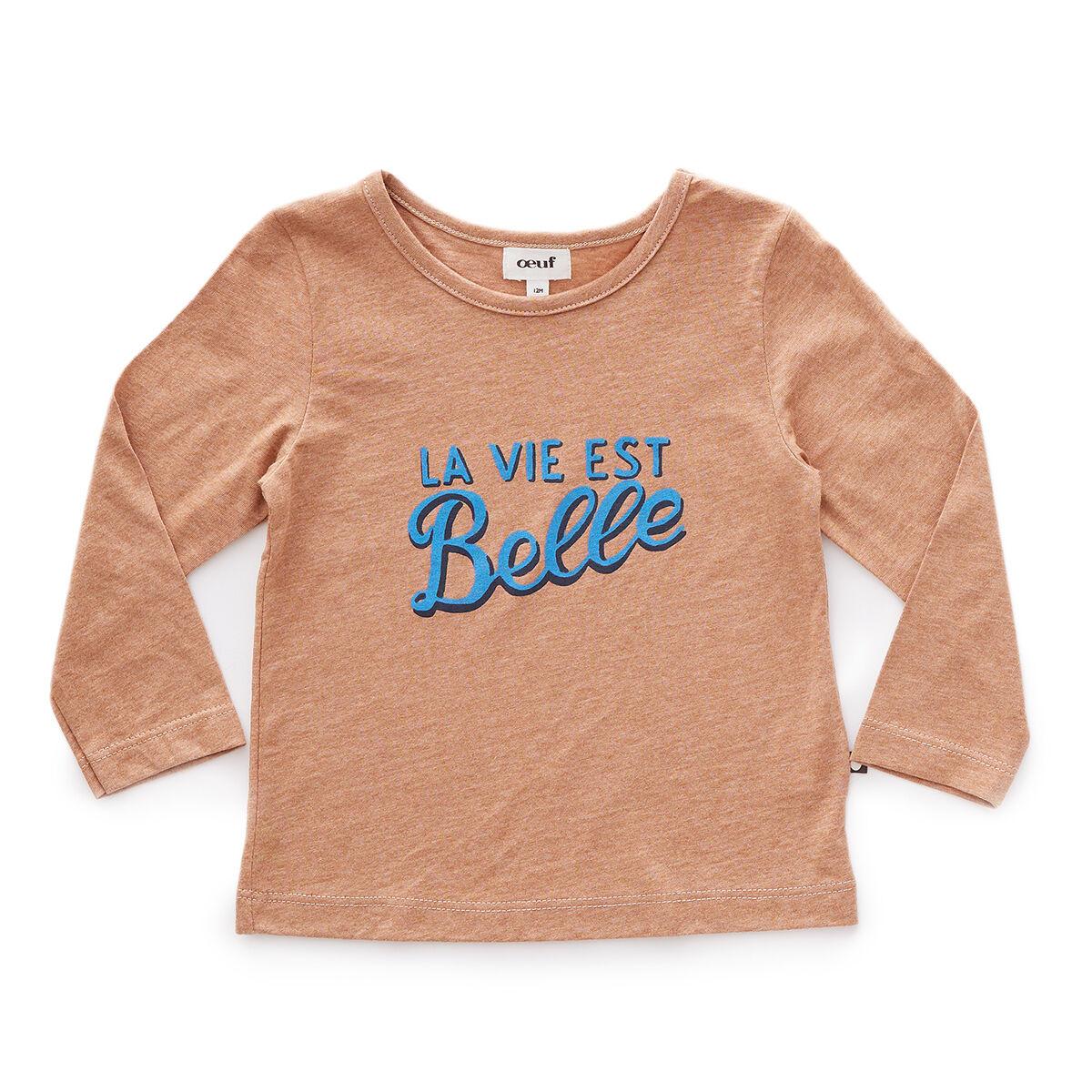 Oeuf NYC Tee-shirt La Vie Est Belle Marron - 6 Mois