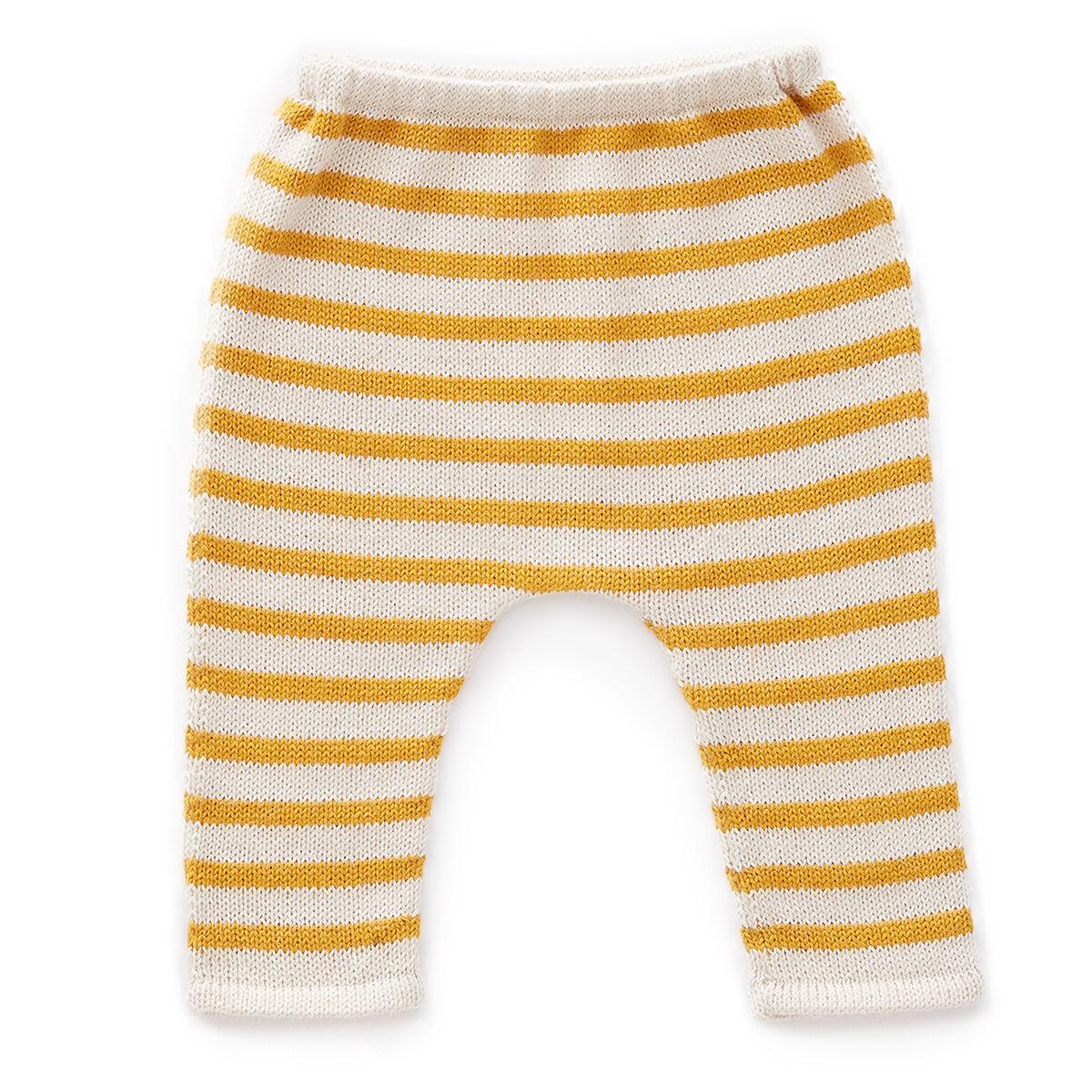 Oeuf NYC Pantalon à Rayures Blanc et Mimosa - 3 Mois