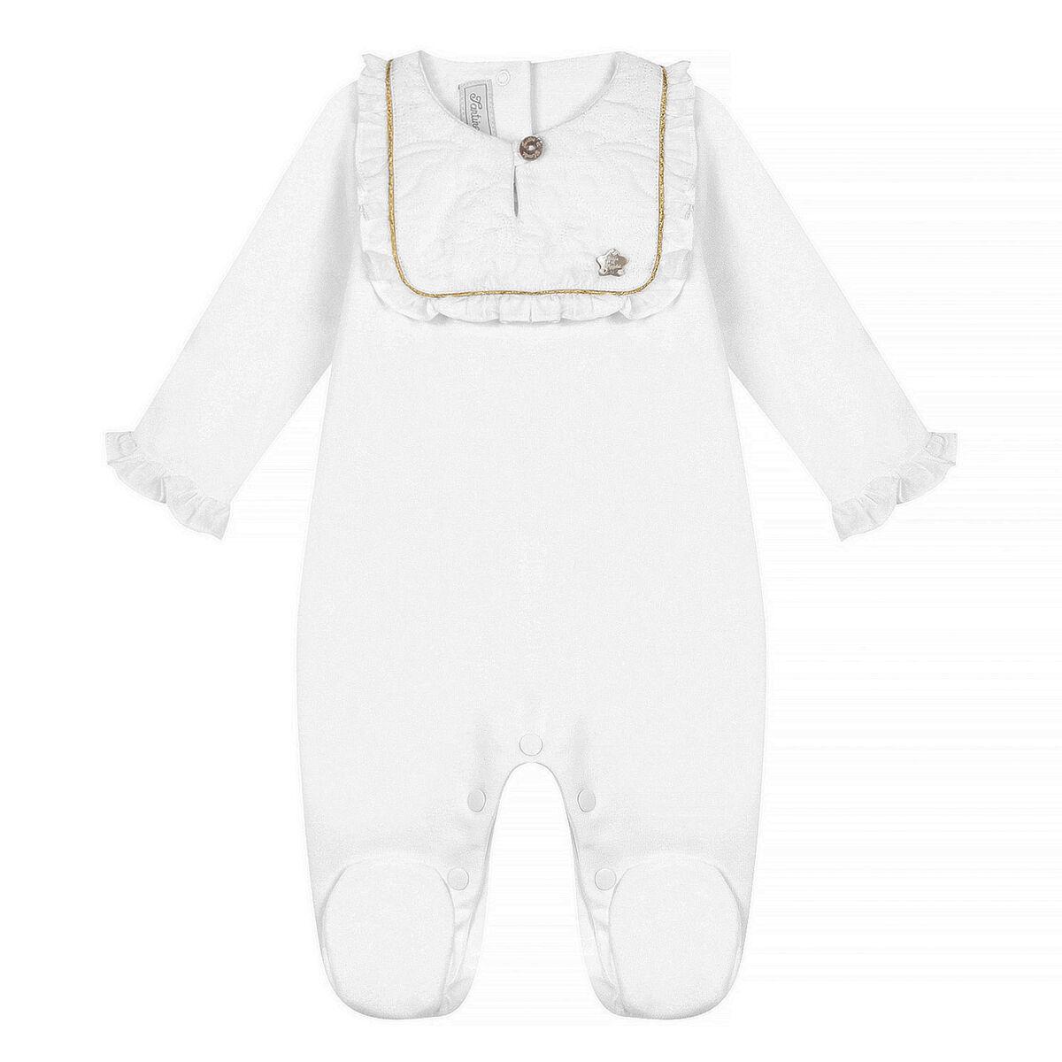 Tartine et Chocolat Pyjama Dors-Bien Monogramme Blanc - 1 Mois