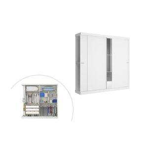 Armoire ADALRIK - 2 portes coulissantes - Avec miroir - L.231cm - Blanc
