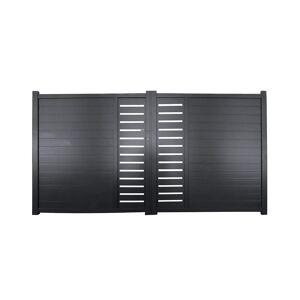 Portail battant en aluminium à motifs GATEO - 350 x 160 cm