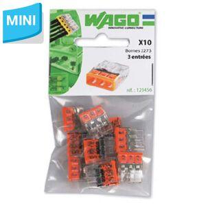 WAGO S2273 10 mini bornes de connexion rapide 3 entrées pour fils rigides - 2273-203 - Wago