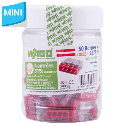 WAGO S2273 50 mini bornes de connexion rapide 4 entrées pour fils rigides - 2273-204 - Wago