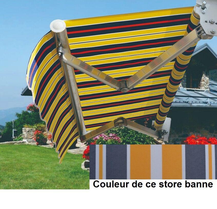 Bouvara Store banne de terrasse 5x3m gris blanc jaune
