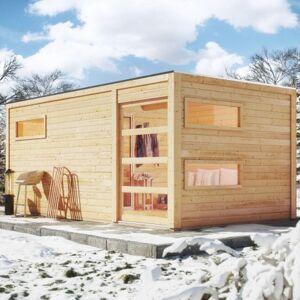 Karibu Sauna extérieur Hygge bois naturel avec vestibule 5 à 6 places 38mm KARIBU