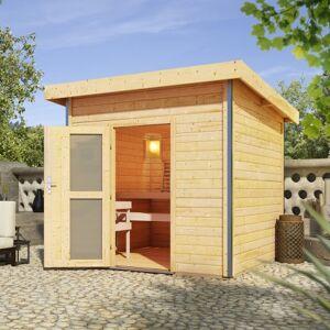 Karibu Sauna d'extérieur Kroge en bois massif 38mm porte opaque 6 à 8 places Karibu