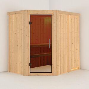 Karibu Sauna traditionnel d'angle CARIN 4 à 5 places 68mm sans couronne - avec porte moderne KARIBU