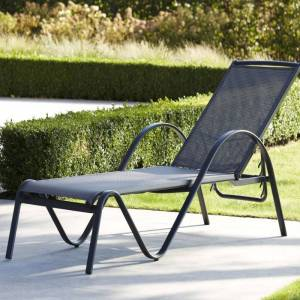 Wilsa Garden Bain de soleil en aluminium et textilène gris SUNSET - Wilsa