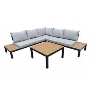 Lusso Salon de jardin d'angle 5 places en aluminium gris anthracite et bois composite, coussins gris, ensemble 4pcs KAIHOLO - Lusso