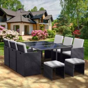 Lusso Salon de jardin encastrable 10 places en résine tressée grise avec coussins MILOS - Lusso
