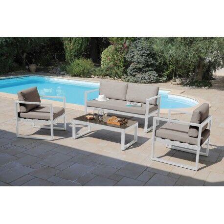 Proloisirs Salon de jardin 4pcs en aluminium blanc avec coussins déperlants taupe DINA - Proloisirs