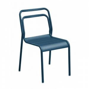 Proloisirs Chaise design en aluminium époxy bleu empilable EOS Lot de 6 - Proloisirs