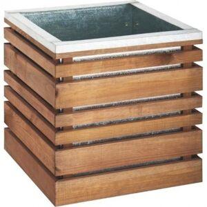 Burger Bac à plantes carré lignZ en bois et acier galvanisé 60x60x50cm Burger