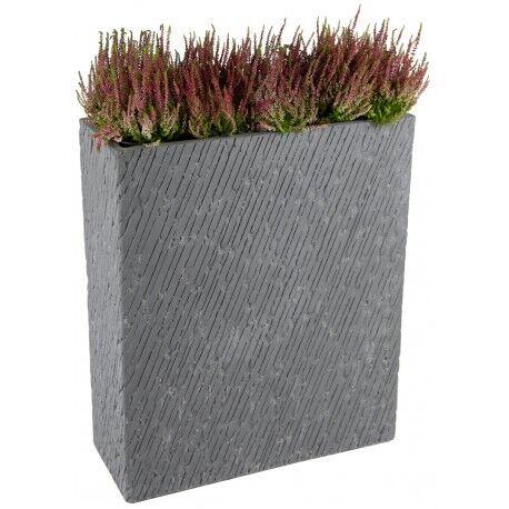 Mega Collections Bac à plantes en fibre de terre 80x30xH.92cm Nebraska effet pierre gris ciment Mega Collections