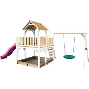 "AXI Atka Play Tower avec balançoire Nid rond ""Summer"" Brun/blanc - avec"