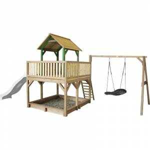 AXI Atka Maison Enfant avec Bac à Sable, Balançoire nid d'oiseau &