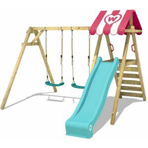 WICKEY Portique balançoire Aire de jeux Smart Sugar avec toboggan turquoise